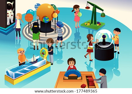 A vector illustration of kids on a trip to a science center - stock vector