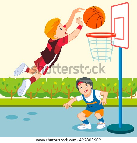 A vector illustration of kids playing basketball in a playground - stock vector