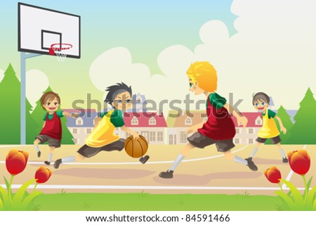 A vector illustration of kids playing basketball in the suburban area - stock vector