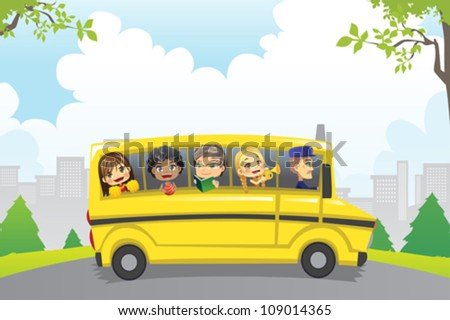 A vector illustration of kids riding in a school bus - stock vector