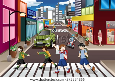 A vector illustration of kids using the pedestrian lane while crossing the street - stock vector