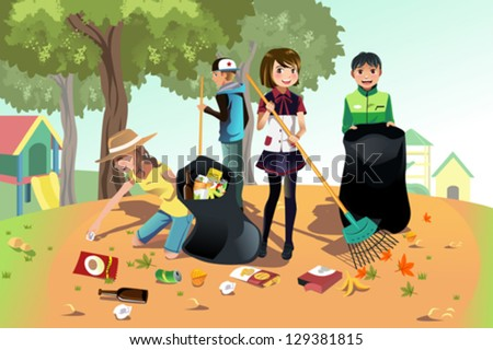 A vector illustration of kids volunteering by cleaning up the park - stock vector