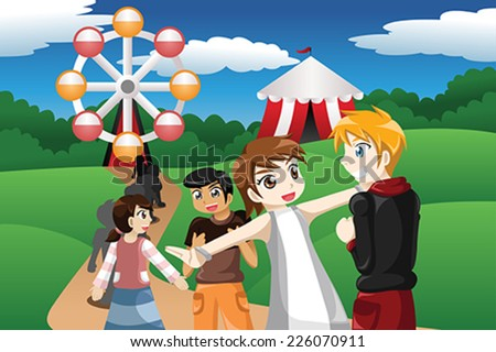 A vector illustration of kids waiting in line before going to a ride ferris wheel in an amusement park - stock vector