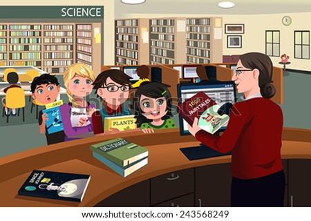 A vector illustration of kids waiting in line checking out books from the library - stock vector