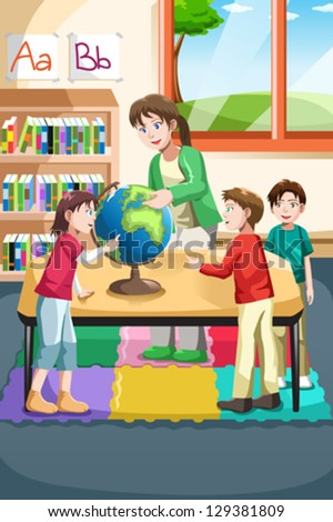 A vector illustration of kindergarten teacher and students looking at a globe in the classroom - stock vector