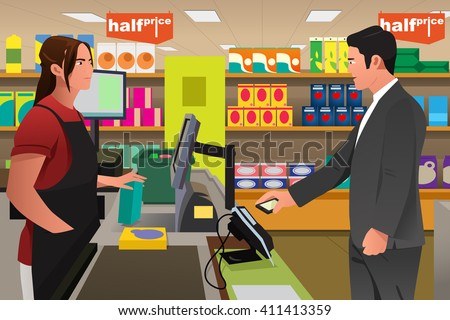 A vector illustration of man paying the cashier at the grocery store using his phone - stock vector