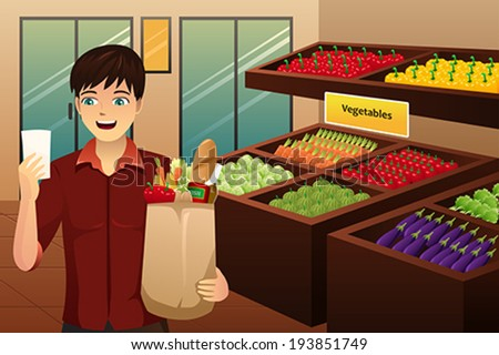 A vector illustration of man shopping at the grocery - stock vector