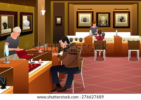A vector illustration of man shopping for a wedding ring in a jewelry store - stock vector