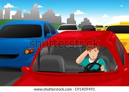 A vector illustration of man stuck in traffic - stock vector