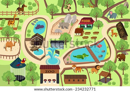 A vector illustration of map of a zoo park - stock vector