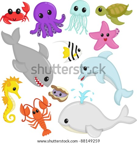 A vector illustration of marine wildlife animals cartoon - stock vector