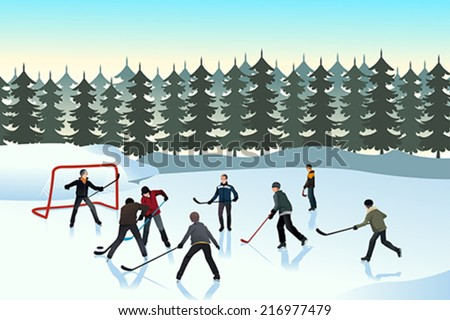 A vector illustration of men playing ice hockey on an outdoor ice rink - stock vector