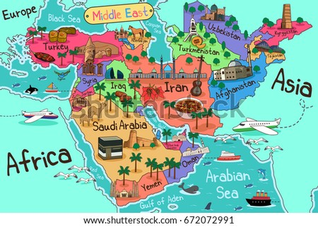 Vector Illustration Middle East Countries Map Stock Vector