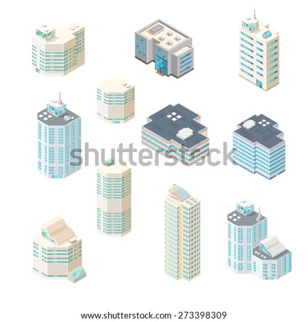 A vector illustration of modern sate of the art office buildings. Isometric Office building icons. Urban city building set. - stock vector