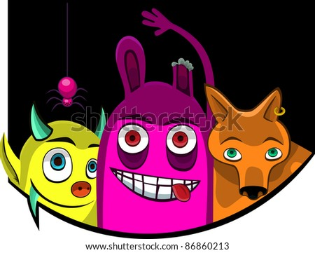 A vector illustration of  monsters. Can be recolored or scaled without problems and quality loss - stock vector