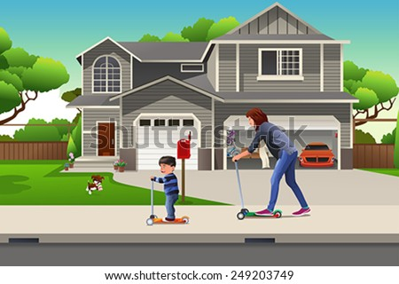 A vector illustration of Mother and son riding a scooter together in the neighborhood - stock vector