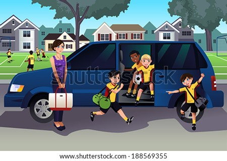 A vector illustration of mother driving her kids and their friends to soccer practice - stock vector