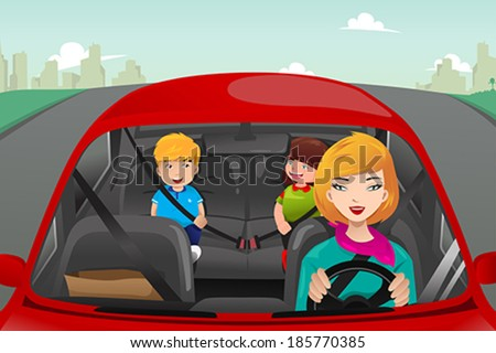 A vector illustration of mother driving with her children riding in the back wearing seatbelts - stock vector