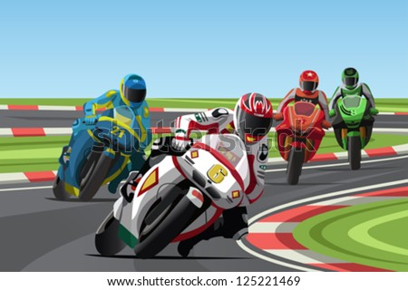 A vector illustration of motorcycle racing on the racetrack - stock vector