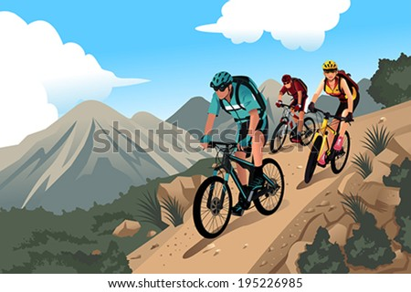A vector illustration of mountain bikers in the mountain - stock vector