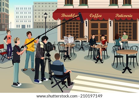 A vector illustration of movie production scene - stock vector