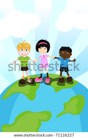 A vector illustration of multi ethnic children holding hands for diversity concept - stock vector