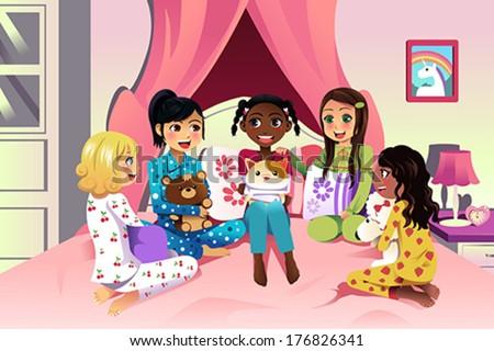A vector illustration of multi ethnic girls having a sleepover - stock vector