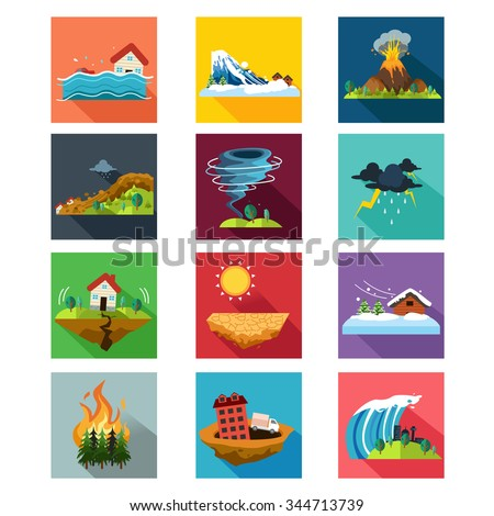 A vector illustration of natural disaster icon sets - stock vector