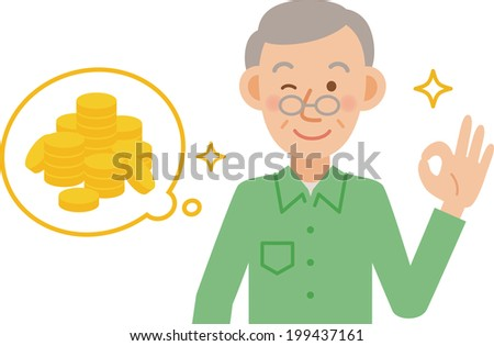 A vector illustration of older men posing  - stock vector