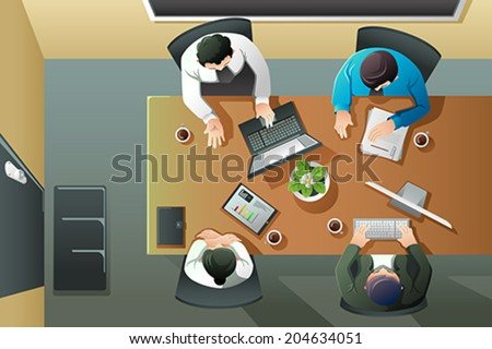 A vector illustration of overhead view of business meeting - stock vector