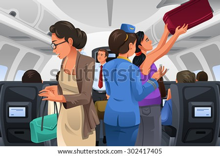A vector illustration of passengers lifting their carry-on luggage into the cabin - stock vector