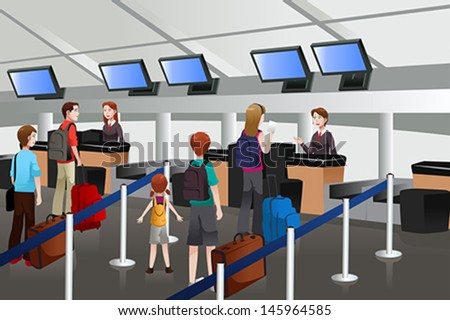 A vector illustration of passengers lining up at check-in counter - stock vector