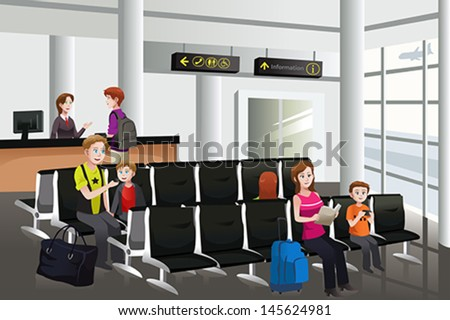A vector illustration of passengers waiting for their flight at airport - stock vector