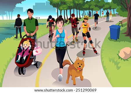 A vector illustration of people in a park doing activities - stock vector