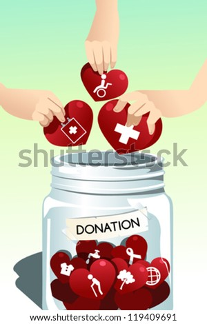 A vector illustration of people making donation - stock vector