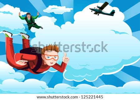 A vector illustration of people skydiving with copyspace - stock vector