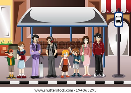 A vector illustration of people waiting for a bus in a bus stop