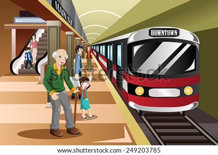 A vector illustration of people waiting in a train station - stock vector