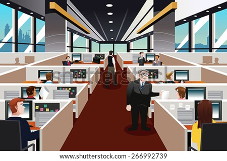 A vector illustration of  people working in the office - stock vector