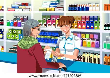 A vector illustration of pharmacist helping an elderly person in the pharmacy - stock vector