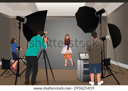 A vector illustration of photographer shooting model in studio - stock vector