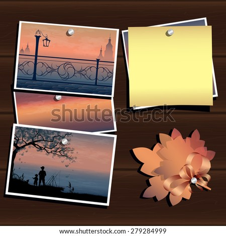 A vector illustration of photos on the wood wall. Inspiration board. Travel and vacation memories. Vector, EPS 10 - stock vector
