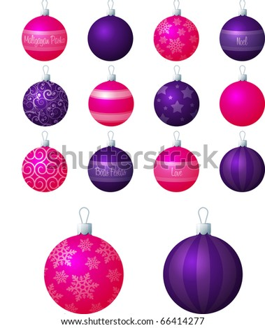 A vector illustration of pink and purple different patterned Christmas baubles on a white background. - stock vector