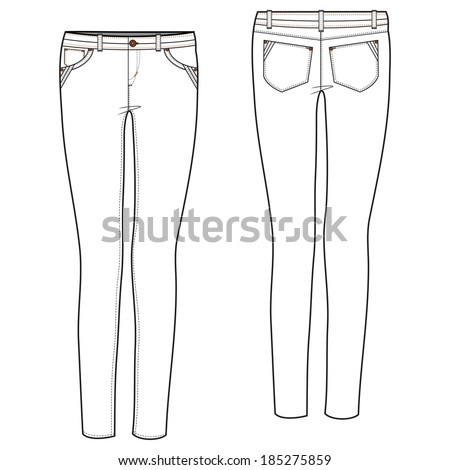 A Vector illustration of Pintuck Detailed Sexy Jean - stock vector