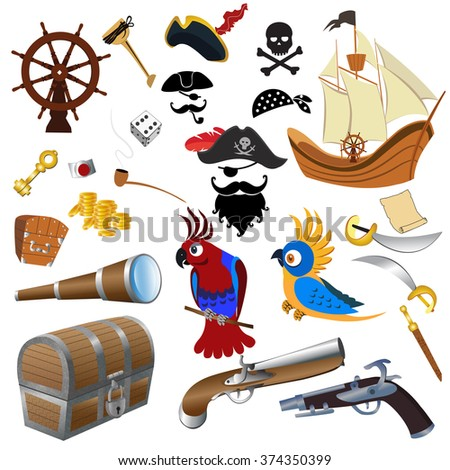 A vector illustration of pirate icon sets - stock vector