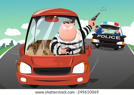 A vector illustration of police chasing criminals in a car on the highway - stock vector