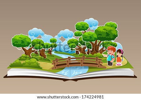 A vector illustration of pop up book with a forest theme - stock vector