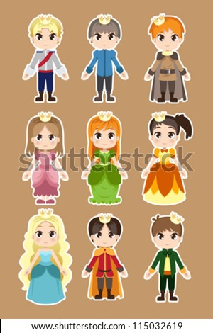 A vector illustration of prince and princess characters