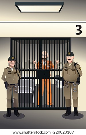 A vector illustration of prisoner in the jail being guarded by prison guards - stock vector