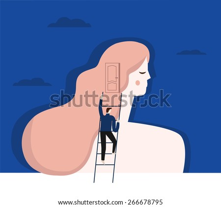 A vector illustration of psychiatrist working with a patient. Man climbs the stairs to the woman's head. dream. Psychology illustration - stock vector